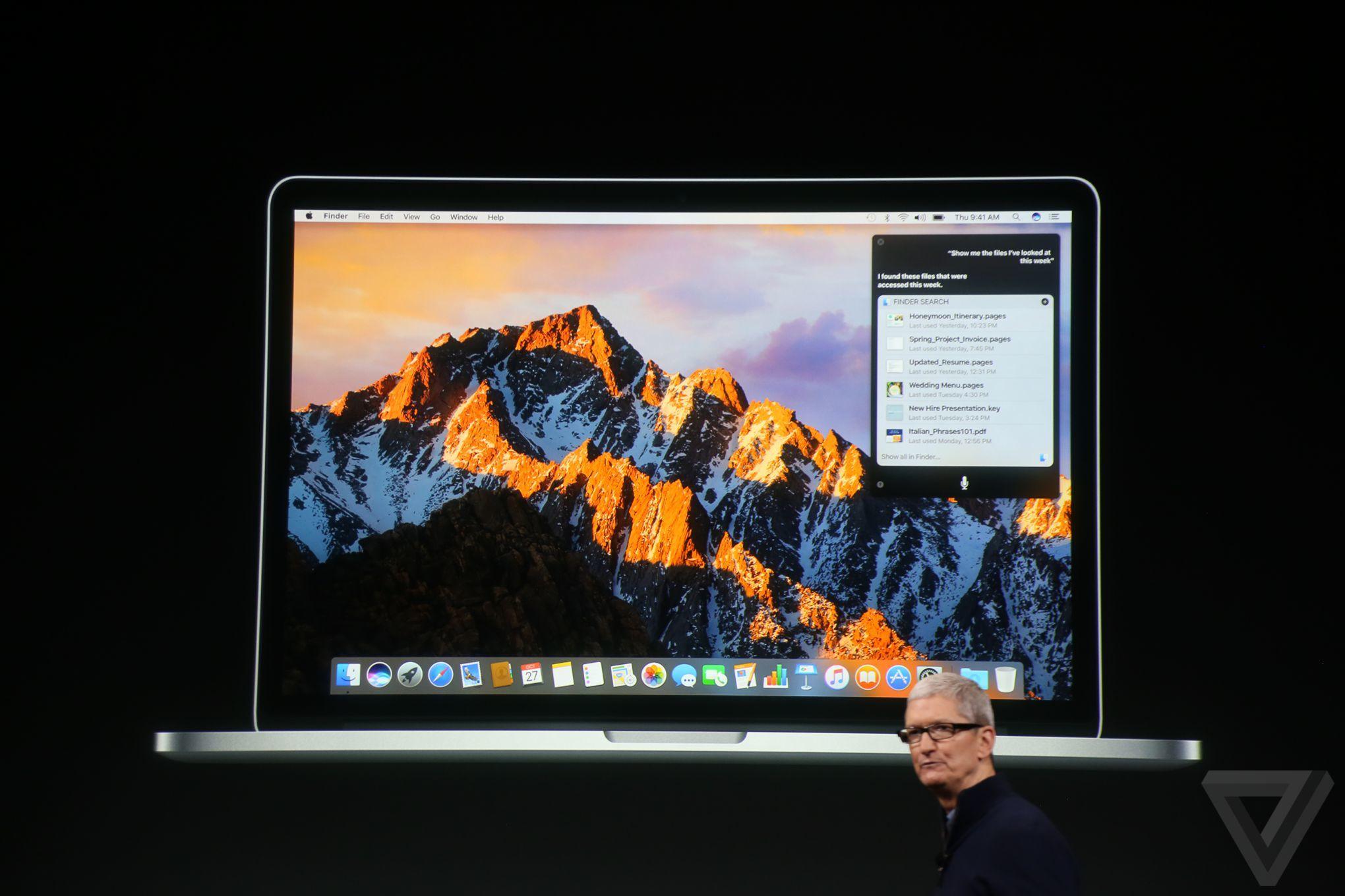 Tim Cook fala dos lançamentos com macOS Sierra.